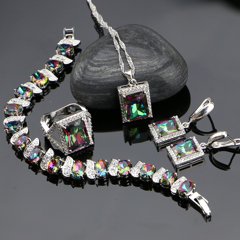 Mystic Rainbow Fire Cubic Zirconia 925 Sterling Silver Jewelry Sets For Women Party Earrings/Pendant/Necklace/Ring/Bracelet a suit of gorgeous rhinestoned flower necklace bracelet earrings and ring for women
