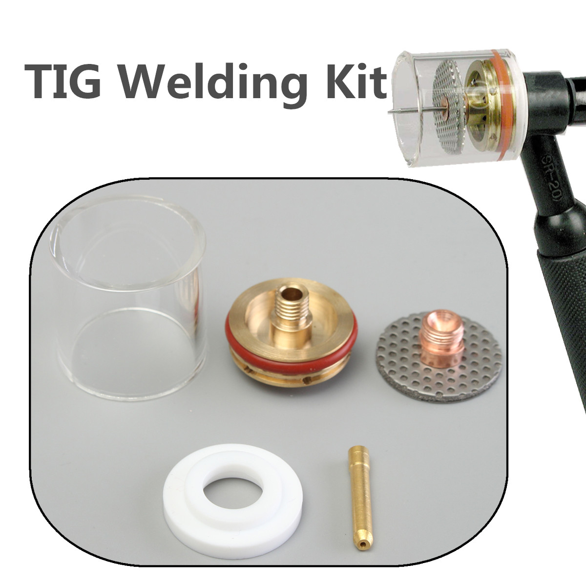 New 5PCS 1.0/2.0/1.6/2.4/3.2mm TIG Welding Torch Gas Lens Pyrex Cup Kit For WP-9 20 Series