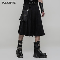 Punk Rave Black Fashion Gothic Pockets Pleated Men's Half Skirt Pants Cosplay Emo Performance WQ362