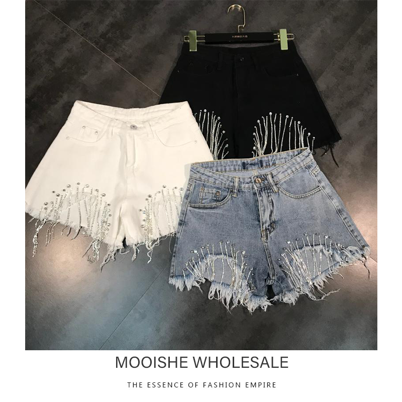 2019 Summer New Hole Sparkling Diamond Chain Tassel Denim   Shorts   HotPants