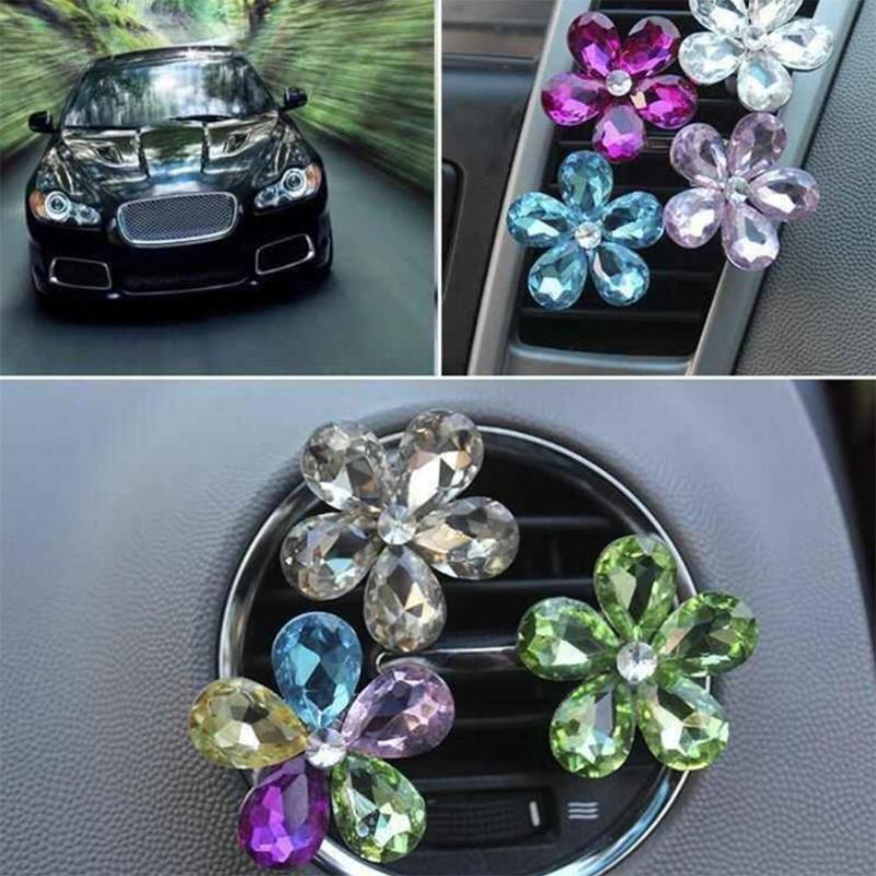 HTB1qlVBuHSYBuNjSspfq6AZCpXaW VODOOL Car Interior Accessories Automobile Air Conditioner Outlet Crystal Flower Decor Car Ornaments Vent Perfume Decoration