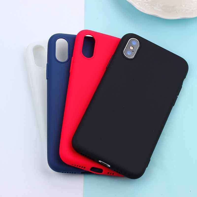 Para iPhone 11 Pro Max funda mate Color caramelo silicona TPU funda para iPhone XS Max XR 7 8 plus 6s 6X5X5 5S cubierta