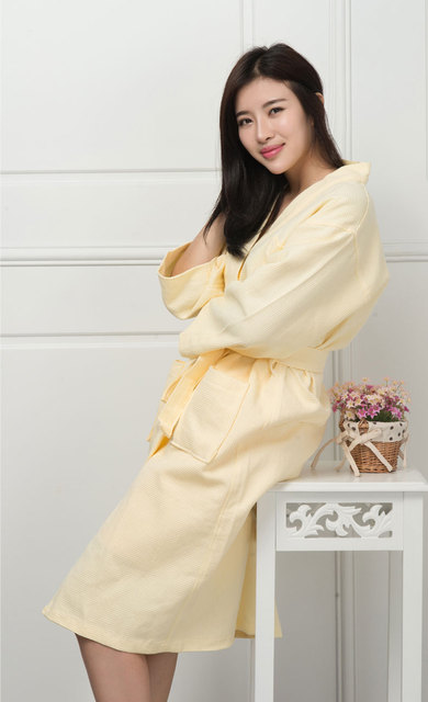 Free shipping men's and women's cotton Bathrobe kimono hotel bathrobe spring and summer Waffle sweat evaporate couples bath robe