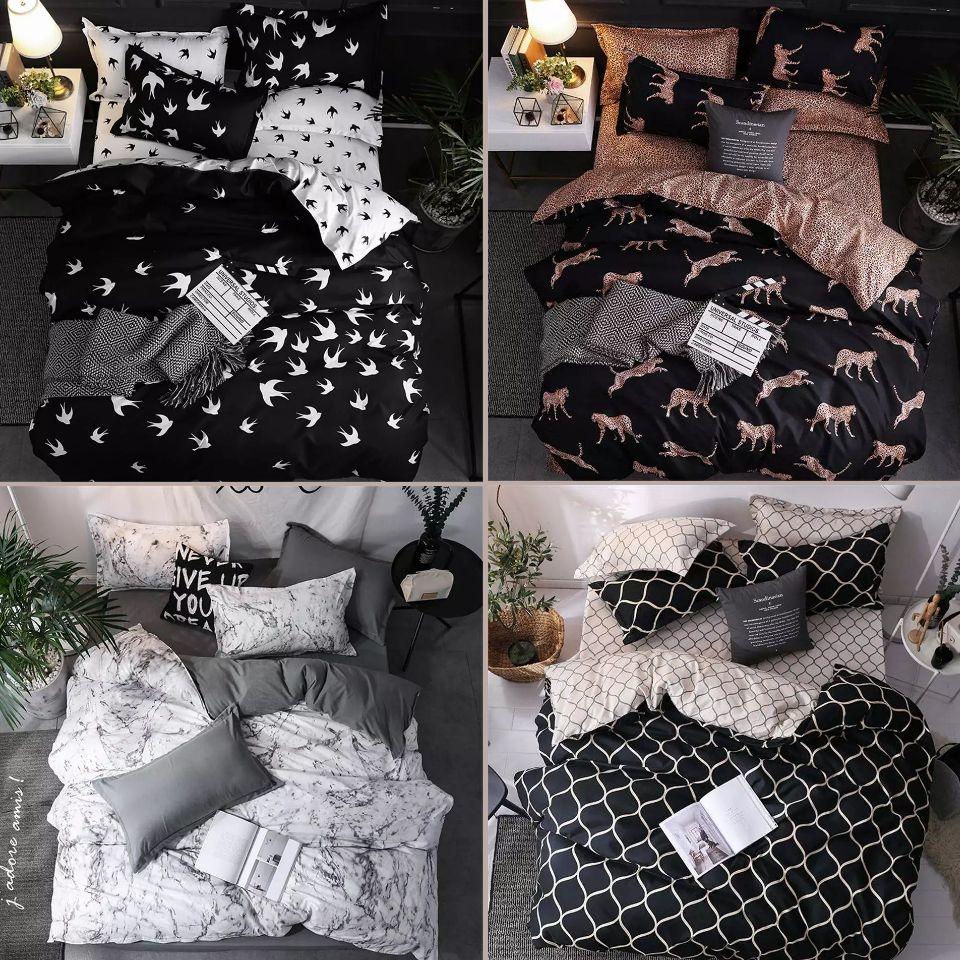 Marble Bedding Set Leopard Print  Bed Linen Black White Figure Twin Queen King Size Duvet Cover Set Luxury European And American