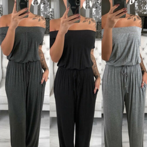 Summer Casual Loose Cool Fashion Womens Off Shoulder Short Sleeve Playsuit Ladies Solid Sexy Plain Soft Gray Long Jumpsuit