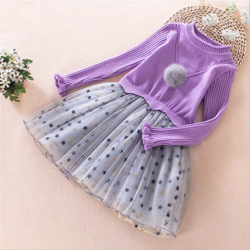 цены на 2017 new Spring  Autumn baby girl sweater dress Long Warm Fashion Princess Dress toddler girl Children Clothing 4 5 7 8 9 10 11Y в интернет-магазинах