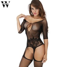 8336ecdd94bde Womail Lace Sexy Bodysuit Open Crotch Mesh Jumpsuit Women Fishnet Bodysuit  Women Sexy Lingerie Rompers Playsuits Dec06