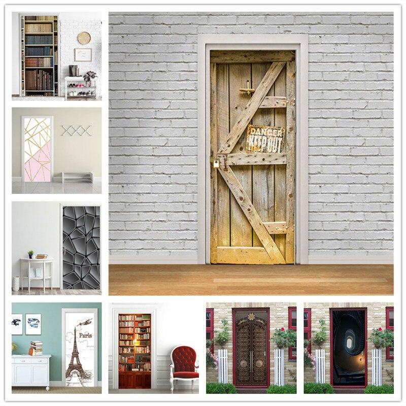 Library Vinyl Wood Stickers For Door Wallpaper Doors Murals Diy Self Adhesive Waterproof Living Room Bedroom Home Decor Decals Buy At The Price Of 4 57 In Aliexpress Com Imall Com
