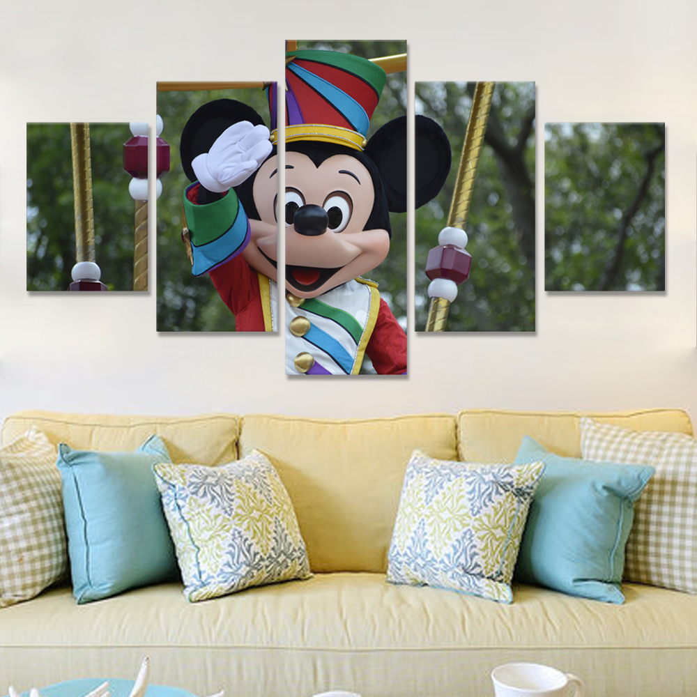 Unframed 5 HD Canvas Prints Cartoon Mouse Poster For Living Room Decoration Mural Module Art Spray Painting Dropshipping