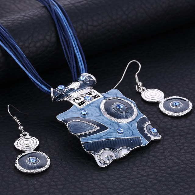Boho African Jewelry Set Crystal Gem Pendant Statement Necklace Set Wedding Jewe