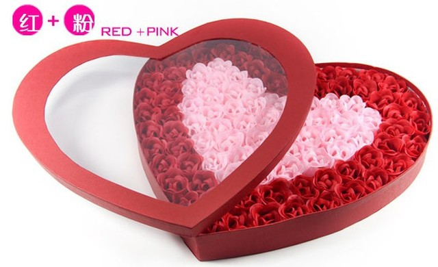 "free shipping  ""Just For You"" Valentine/ Wedding Pink Rose Soap Set With 100pcs In Box  4style you can choose Soap flower box"