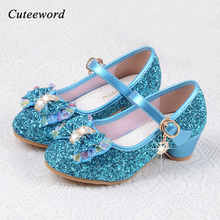 цена на Fashion Children shoes girls high heel for party dance sequined princess shoes snow queen for kids pink blue leather shoes