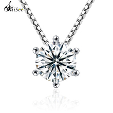 Clear Crystal Pendant Chain Necklace for Women WhiteGold Plated Classics Six Claws Fashion Wedding Jewelry J131 1pc Dropshipping