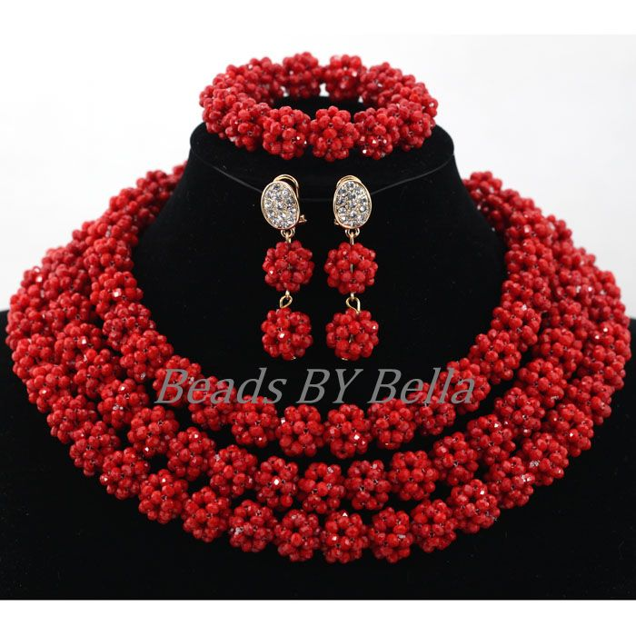 Luxury Red Balls Wedding Accessories Women Costume African Beads Jewelry Set Crystal Statement Necklace Set Free Shipping ABL011 luxury african beads bridal jewelry set 3 rows green crystal balls necklace set women costume jewelry set free shipping abc990