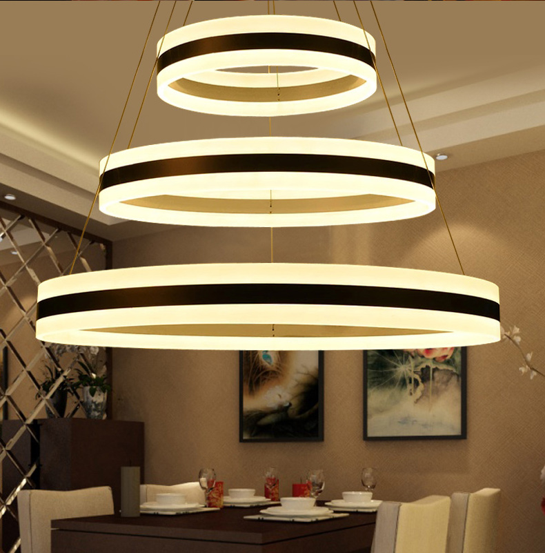 Ring LED chandelier living room round atmosphere modern creative bedroom personalized dining room office coffee FG156 vintage clothing store personalized art chandelier chandelier edison the heavenly maids scatter blossoms tiny cages