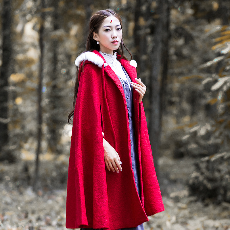 Cap Trench Petit Sans Chaperon Costume Dames Mode De Sexemara Rouge Extra Longues Noël Nouvelles Manches q6v7fIwf