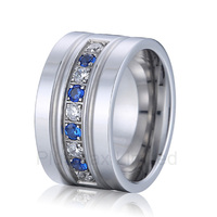 anel masculino cheap titanium jewelry ring on sale men and women blue and white stone wedding band