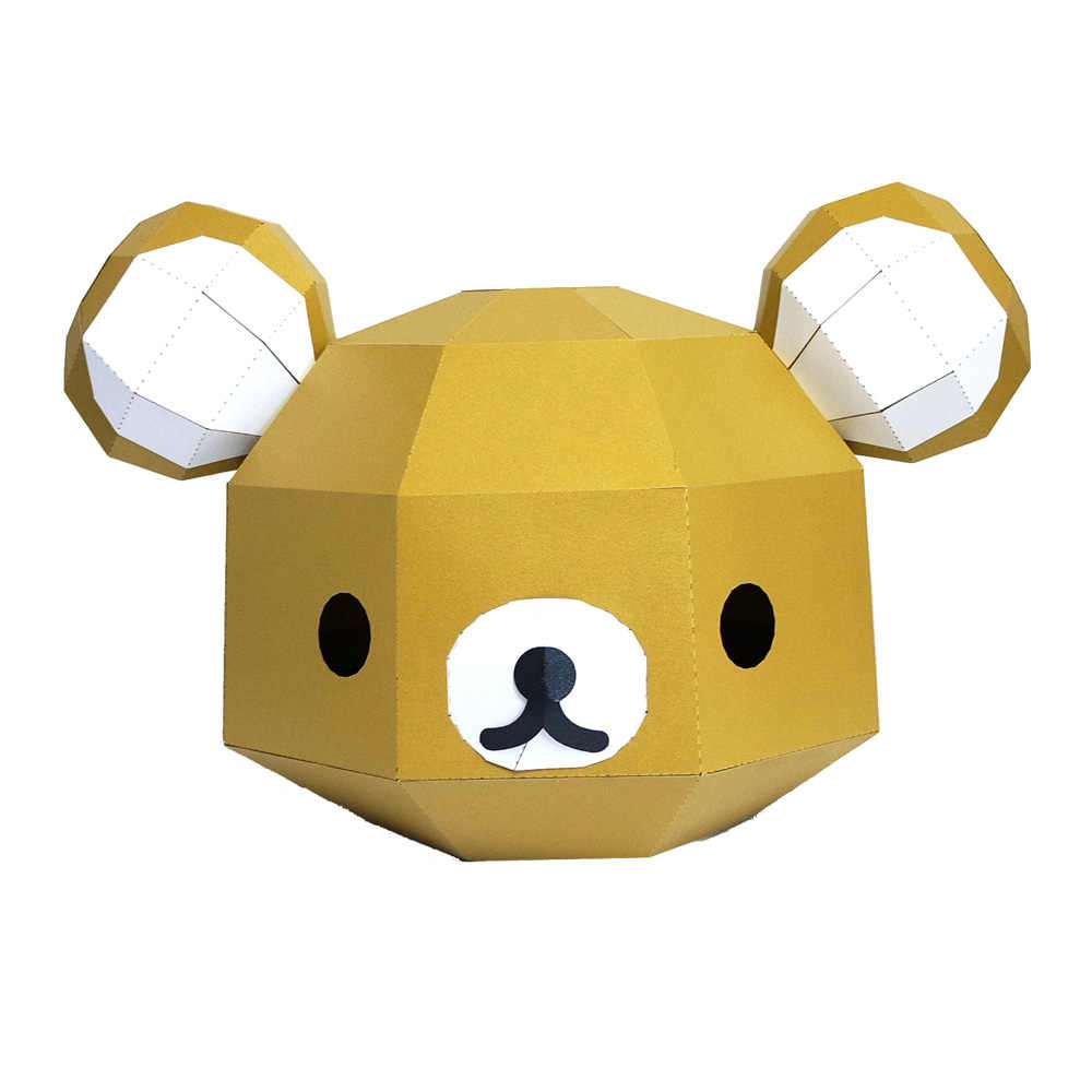 3D Paper Mask Fashion Little Bear Animal Costume Cosplay DIY Paper Craft Model Mask Christmas Halloween Prom Party Gift
