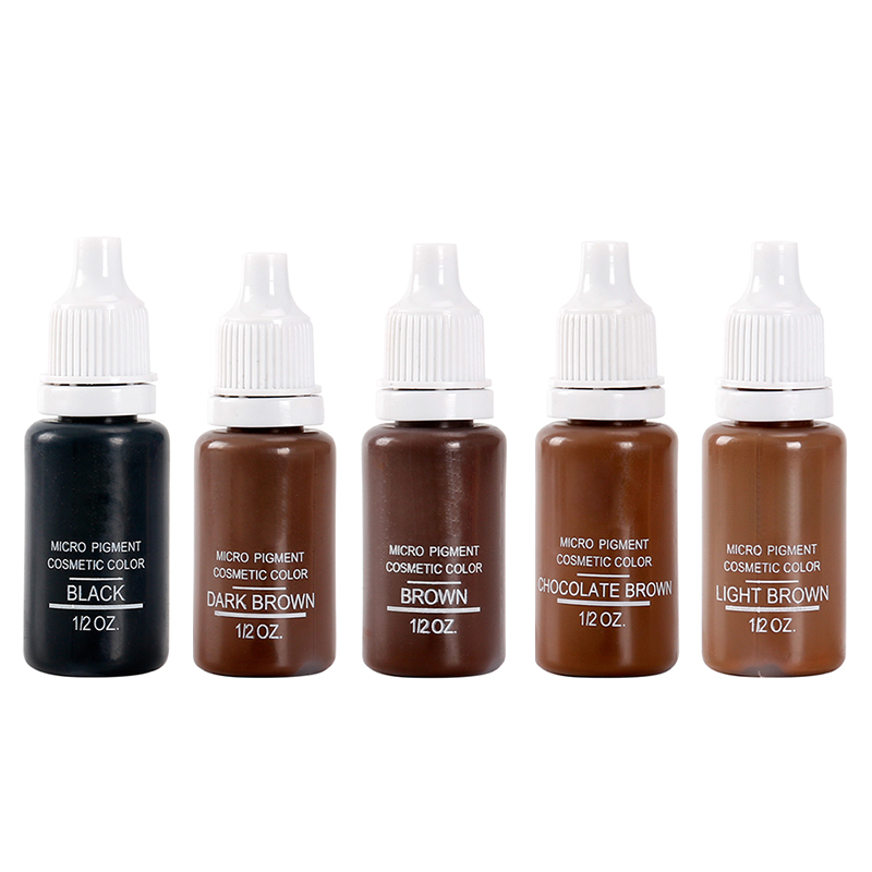 5 Bottle 1/2 Oz  Permanent Makeup Micro Pigments Set BTCH Tattoo Ink Cosmetic 15ml Kit For Tattoo Eyebrow Lip Make Up Mixed Colo