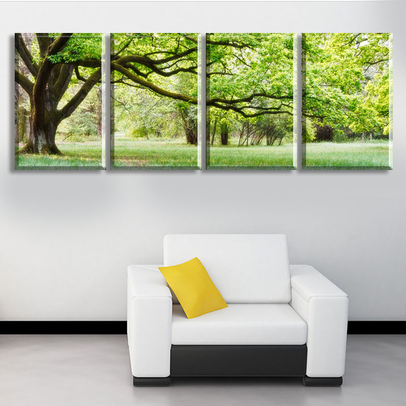 2017 New 4 Piece Abstract No Frame Printed Canvas Art Tree Canvas Wall  Picture Decoration Home Modern Canvas Oil Art Prints In Painting U0026  Calligraphy From ...