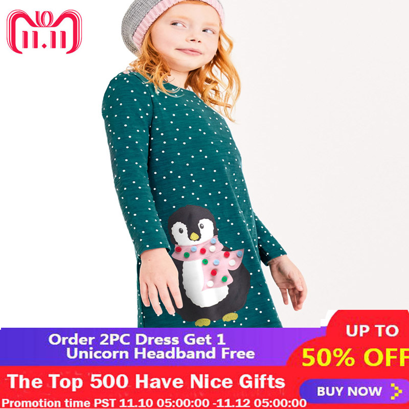 Robe Enfant Fille Baby Girl Dress Christmas Unicorn Clothes Penguin Dog Bird Appliqued Princess Costume Girls Long Sleeve Dress new year girl dress princess costume long sleeve christmas dresses red kids clothes flower bow robe fille children vestido 4 11y