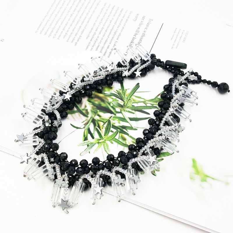 Lii Ji หินธรรมชาติสีดำ Onyx Agate Clear คริสตัลควอตซ์ Hematite ดาว Choker สร้อยคอ Handmade ถักสำหรับสตรี