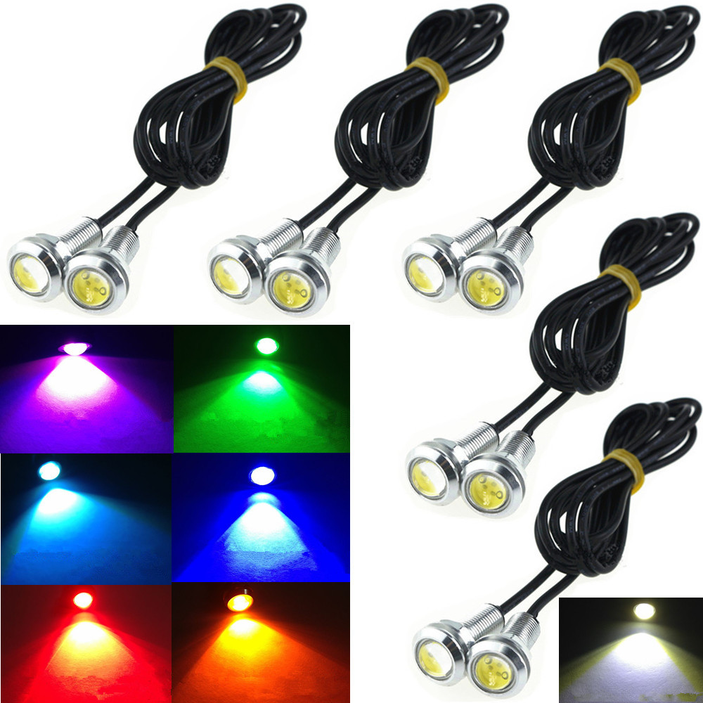 CYAN SOIL BAY 9W 12V 24V 18MM LED Eagle Eye Light Car Fog DRL Daytime Reverse Parking Signal Yellow Amber Pink Blue White Red new arrival a pair 10w pure white 5630 3 smd led eagle eye lamp car back up daytime running fog light bulb 120lumen 18mm dc12v