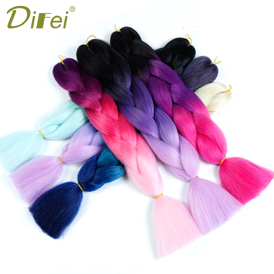 Difei 100g Ombre Braiding Hair Braids 1 Piece 24 Inch Jumbo Braids Hairstyles Synthetic Hair Extensions Can Be Repeatedly Remolded. Hair Extensions & Wigs Jumbo Braids