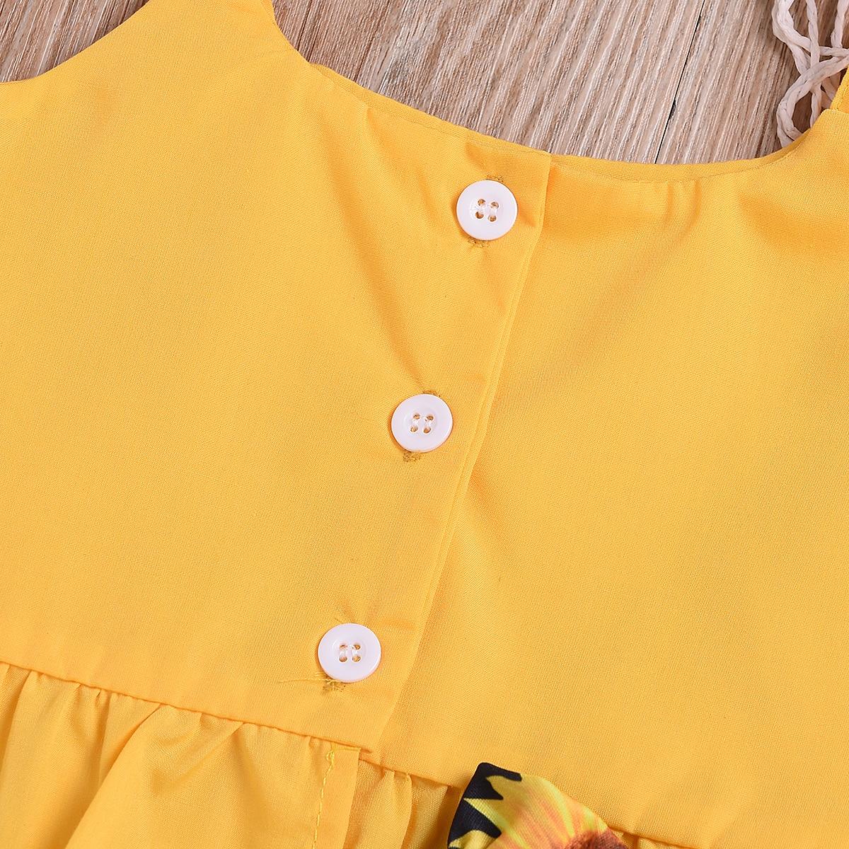 523ef1d4ee3b1 Toddler Baby Kid Girl Holiday Clothes Sets Yellow Sleeveless Tops T-shirt  Tank Floral Shorts Pants ...