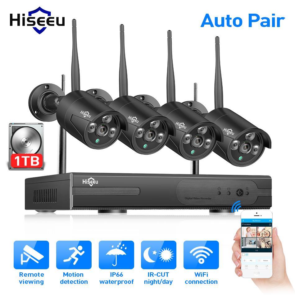 Hiseeu Wireless NVR 1080P HD Outdoor Home Security Camera System 4CH CCTV Video Surveillance NVR Kit 960P Wifi Camera Set black