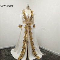 New Arrival Custom made Lace Appliques Beaded Kaftan Evening dress Long sleeve Two piece Saudi Arabic Evening gowns Plus size