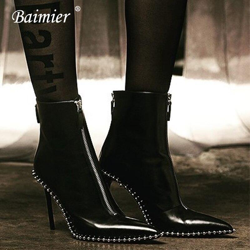 a91e3019588f2b Cuir Boots white Talons Bottes Femme Black 2018 Marque Glissière Rivet  Bottines Noir Baimier red À Boots Femmes Boots De Argent Hauts ...