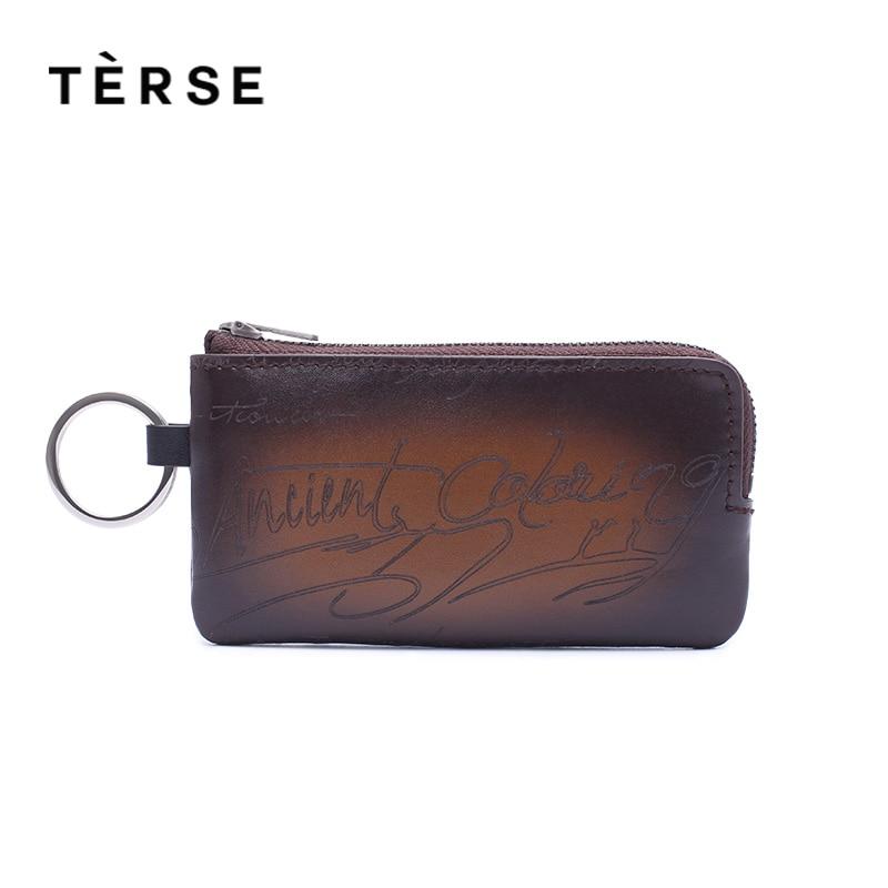 TERSE Brand New Mini Wallets Key Short Vintage Handle Wallet Genuine Calf Leather For MEN WOMEN Zipped Purse Customized Logo