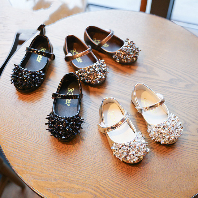 Baby Leather Shoes Baby Fashion Pu Leather Shoes Rhinestones Square Heel Princess Shoes for Baby Girl