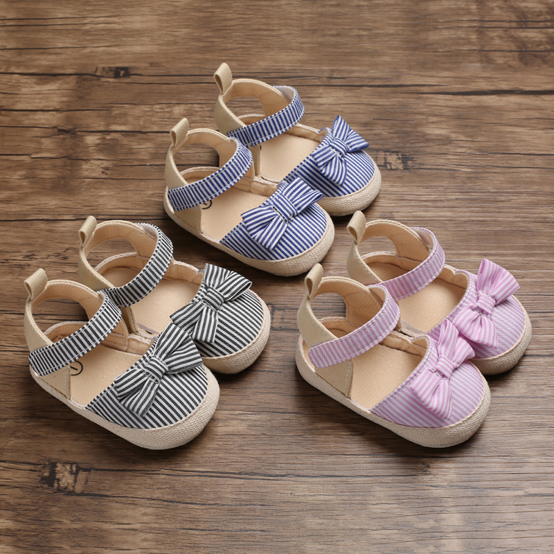 Summer Girls Clogs Fashion Infant Baby Girl Soft Sole Sandals With Bowknot Toddler Striped Shoes Baby Girl Bow-Knot Sandal