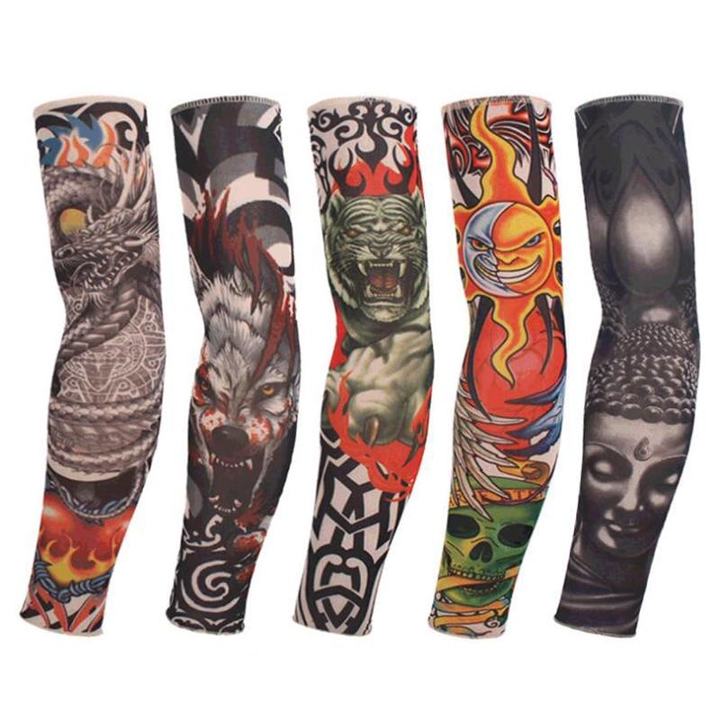 Fashion Ice Silk Tattoo Arm Sleeves Men Women Anti-Sunshin Cycling Running Arm Leg Sleeves Nylon Unisex Hip Hop Party Sleeve