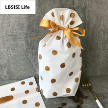 LBSISI Life 50pcs/lot Gold Polka Dot Drawstring Bags Cookie Plastic Bags-Snacks,Party, Favor,Gift, Wedding,Plastic Package Bag цена в Москве и Питере