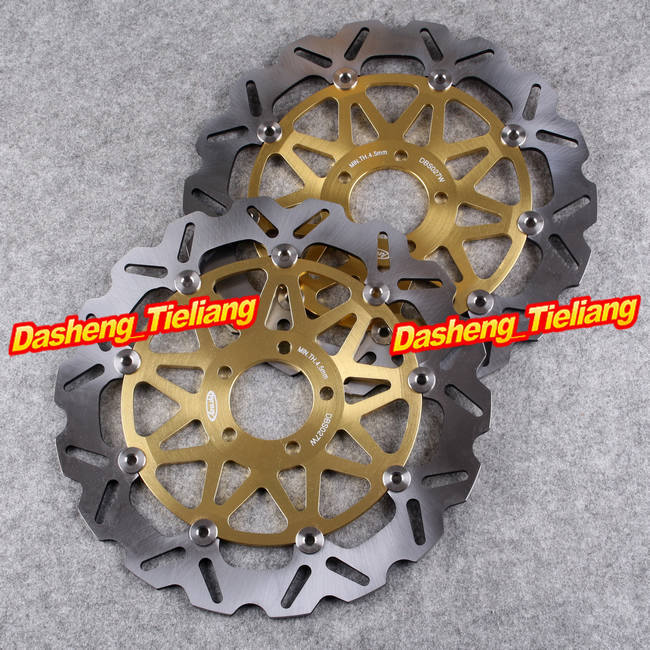 Front Brake Disc Rotors For Kawasaki Ninja ZX7R ZX9R ZX12R ZZR1100 ZZR1200 ZXR750 Gold Color, Motorcycle Spare Parts цены онлайн
