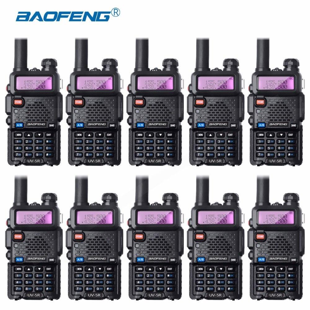 10 pièces Bao Feng UV-5R Talkie-walkie Gros Baofeng UV5R CB Radio VHF UHF Dual Band Two Way Radio 5 W VOX lampe de Poche Ham Radio