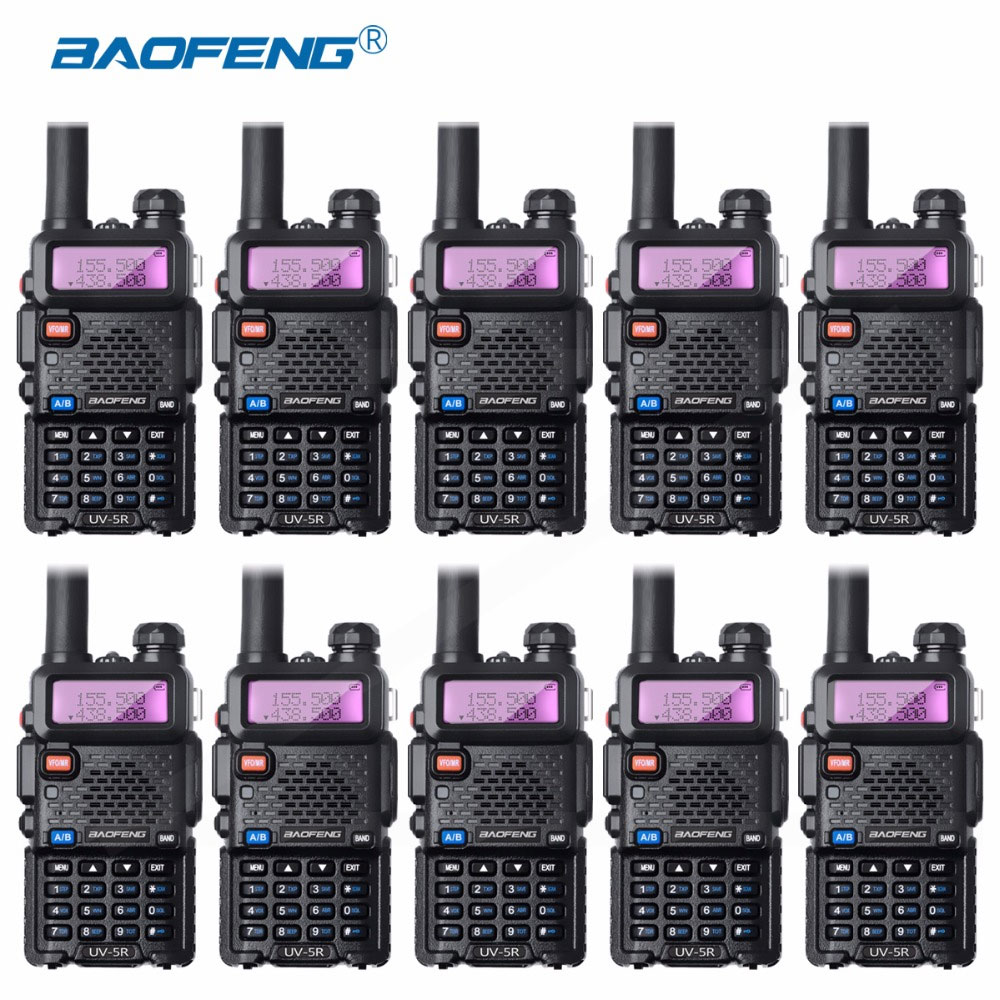 10Pcs Bao Feng UV-5R Walkie-Talkie Wholesale Baofeng UV5R CB Radio VHF UHF Dual Band Two Way Radio 5W VOX Flashlight Ham Radio