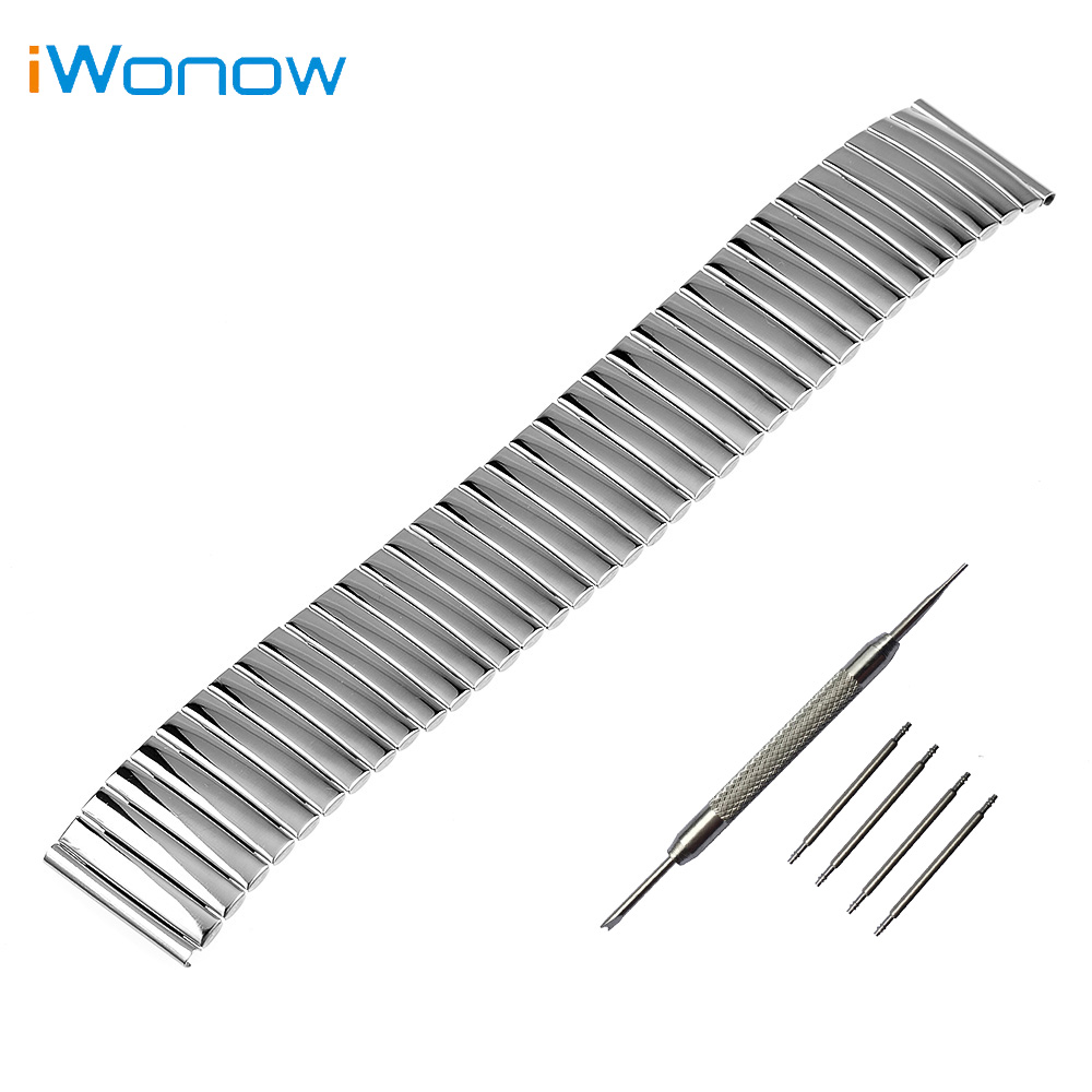 Stainless Steel Watch Band 16mm 18mm 20mm 22mm 24mm Universal Watchband Elastic Strap Wrist Belt Bracelet + Spring Bar + Tool 24mm nylon watchband for suunto traverse watch band zulu strap fabric wrist belt bracelet black blue brown tool spring bars