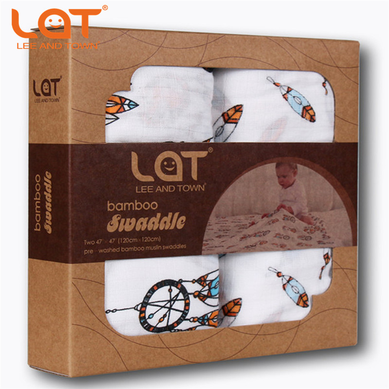 LAT Baby 2pc/box Large Premium Muslin Cotton Swaddle Wrap Receiving Blanket Swaddling Burp Cloths & Stroller Cover Gift 120*120