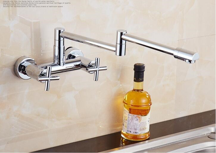 Into the wall Double Handle kitchen faucet Scalable Rotary Stretch Fold Vegetable basin faucet hot Cold Sink Taps Mixer torneira bathroom faucet into the wall cold and hot water taps embedded type mixer double handles table basin wash basin faucet torneira