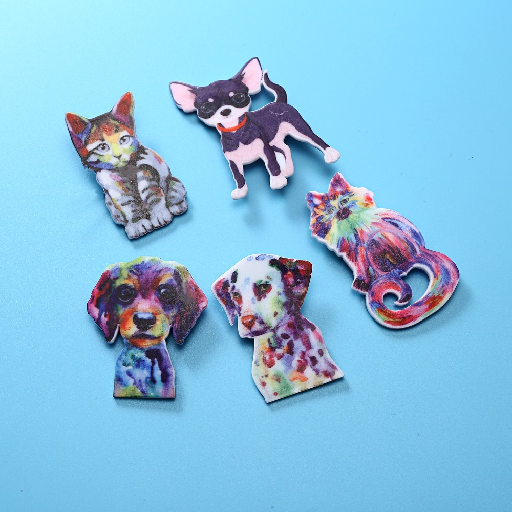 Colorful Animals Dog Flowers Printing Brooch Pin Womens Costume Jewellery Gift