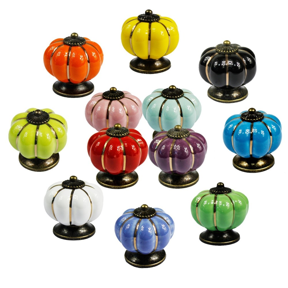 Dia 40mm Ceramic pumpkin knob for Kids Children, Ceramic Furniture Cabinet Drawer Knobs cupboard Pulls Handles Vintage Style one piece vintage pastoralism pumpkin ceramic knob colorful kitchen ceramic door cabinets cupboard pulls handles