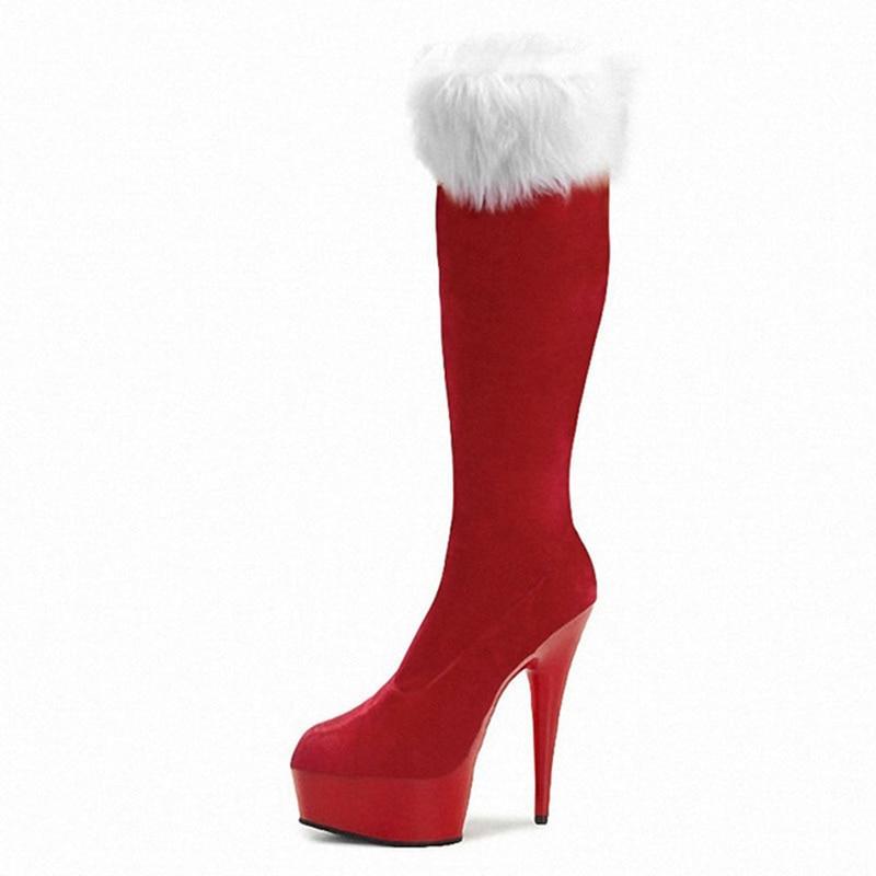Santa Tacón Super Pierna Zapatos 01 Plataforma Rojo Botas Sintética red 03 Navidad Black Altas 01 Invierno red 02 black Mujeres De Recto Claus Piel Larga Alto Rodilla T6AnWEqX