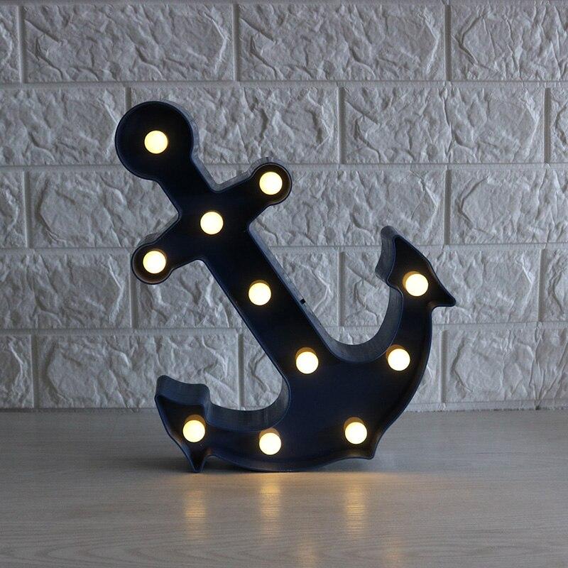 Новое поступление якорь красные, синие 11 LED знаковое событие свет Винтаж Пластик ночник Настенные светильники indoor отменять ...