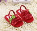 2014 Spring Summer Girls Red Dot Lace Bow First Walkers kids sandals soft bottom shoes infant toddler shoes baby casual shoes