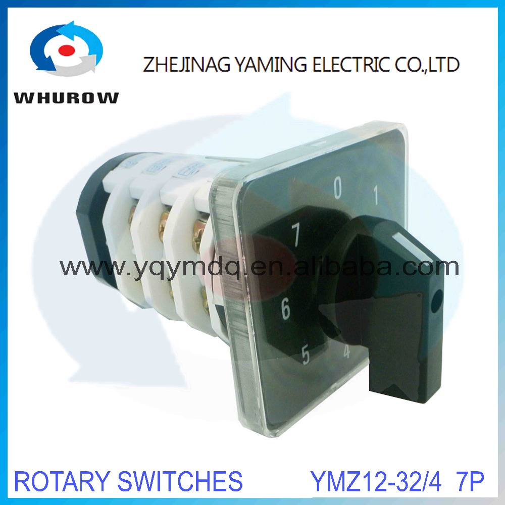 Rotary switch knob 8 position 0-7 YMZ12-32/4 universal manual electrical changeover cam switch 32A 690V 4 section high quality rotary switch ymz12 25 4 changeover cam combination switch 4 poles 8 positions 14 terminals 25a ui 690v sliver point contacts