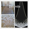 2016 Cheap Appliques One Tier Custom Lace Edge White/Ivory Long 3 Merters Cathedral Wedding Veils Bridal Accessories Free Comb